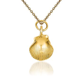 "14kt Yellow Gold Seashell Pendant Necklace. 18"", , default"