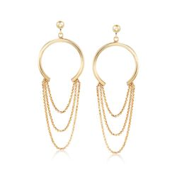 Italian 18kt Gold Over Sterling Silver Open Circle and Multi-Chain Drop Earrings, , default