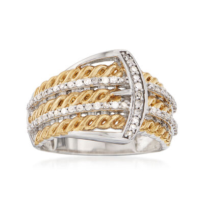 .33 ct. t.w. Diamond Buckle Ring in Two-Tone Sterling Silver, , default