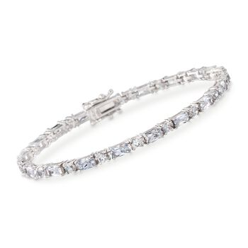 "6.55 ct. t.w. Baguette and Round CZ Tennis Bracelet in Sterling Silver. 7"", , default"