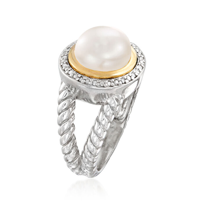 9.5mm Cultured Pearl Ring in Sterling Silver with 14kt Yellow Gold