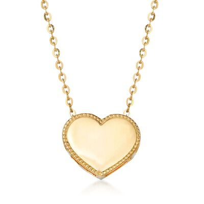18kt Yellow Gold Heart Pendant Necklace, , default