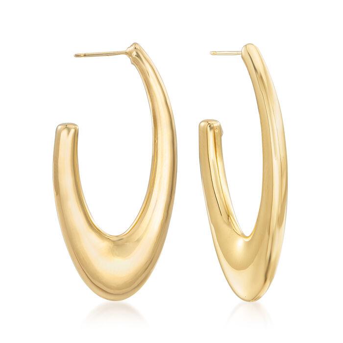 "14kt Yellow Gold Large J-Hoop Earrings. 1 5/8"", , default"