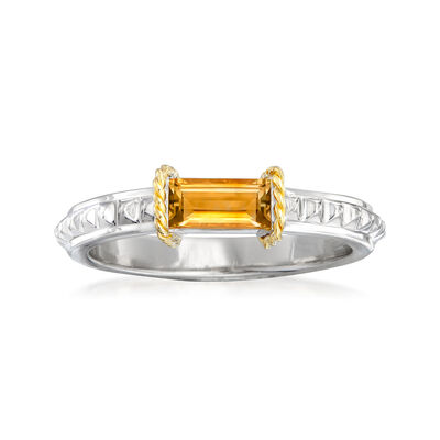 "Andrea Candela ""La Romana"" .45 Carat Citrine Ring in Sterling Silver and 18kt Yellow Gold, , default"