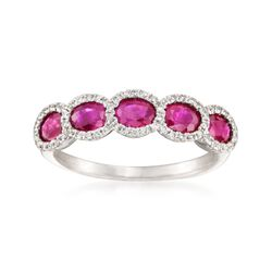 1.48 ct. t.w. Ruby and .19 ct. t.w. Diamond Ring in 14kt White Gold, , default