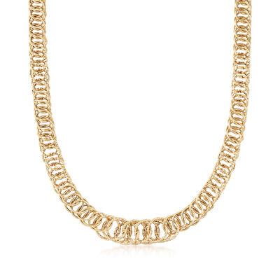 Italian 14kt Yellow Gold Cestina Link Necklace, , default
