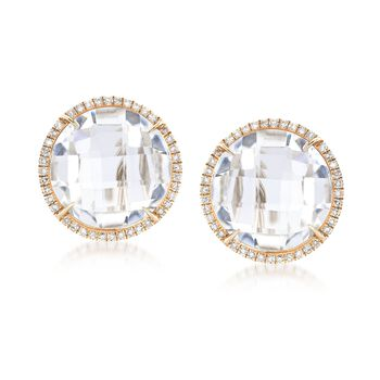 10.00 ct. t.w. Rock Crystal and .24 ct. t.w. Diamond Earrings in 14kt Yellow Gold, , default