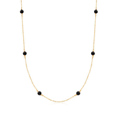 Italian Black Onyx Bead Station Necklace in 14kt Yellow Gold, , default
