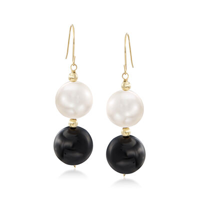 11-11.5mm Cultured Pearl and Black Onyx Bead Drop Earrings in 14kt Yellow Gold , , default