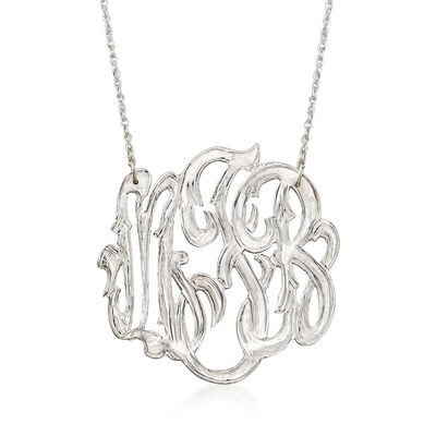 Sterling Silver Open Script Monogram Necklace