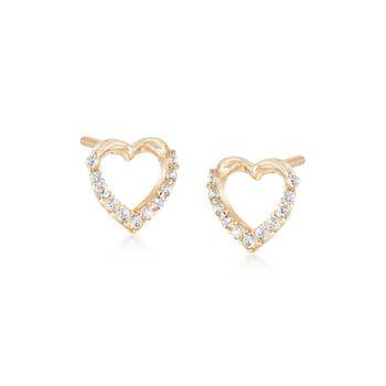 Child's 14kt Yellow Gold .10 ct. t.w. CZ Heart Earrings , , default