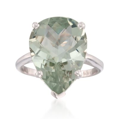8.75 Carat Green Prasiolite Ring in Sterling Silver