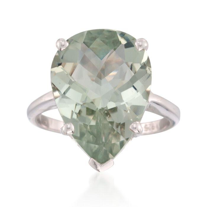 8.75 Carat Green Prasiolite Ring in Sterling Silver