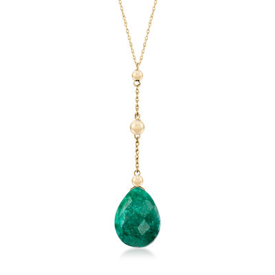 10.00 Carat Emerald Y-Necklace in 14kt Yellow Gold, , default