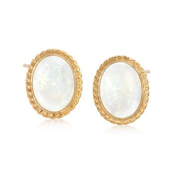Oval Opal Roped Stud Earrings in 14kt Yellow Gold, , default