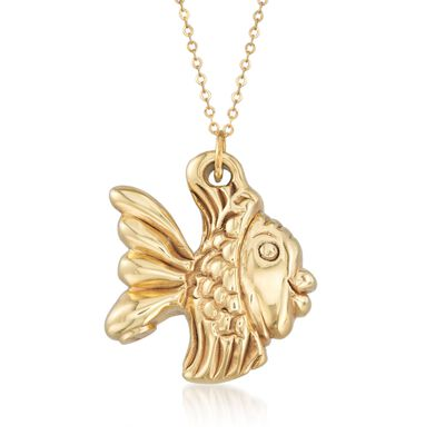 Italian 14kt Yellow Gold Fish Pendant Necklace, , default