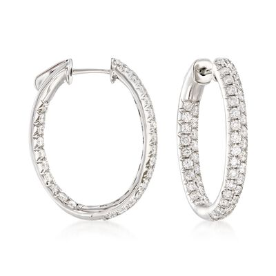 2.00 ct. t.w. Diamond Inside-Outside Oval Hoop Earrings in 14kt White Gold