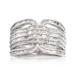 1.00 ct. t.w. Baguette Diamond Multi-Row Ring in Sterling Silver, , default