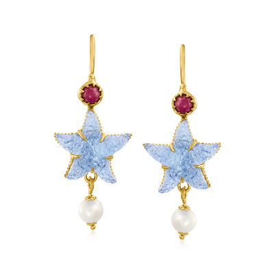 Italian Blue Venetian Glass Starfish Drop Earrings with .50 ct. t.w. Ruby and Cultured Pearls in 18kt Gold Over Sterling