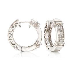 C. 1990 Vintage 1.30 ct. t.w. Diamond Hoop Earrings in 14kt White Gold, , default