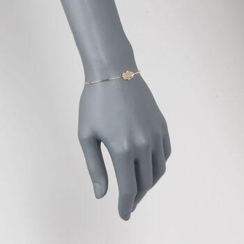 ".13 ct. t.w. Diamond Hamsa Cuff Bracelet in 14kt Yellow Gold. 7"", , default"