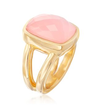 Pink Chalcedony Ring in 18kt Yellow Gold Over Sterling Silver. Size 9, , default