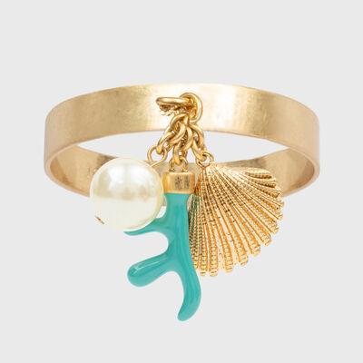 Joanna Buchanan Set of 4 Turquoise Seashell and Coral Napkin Rings