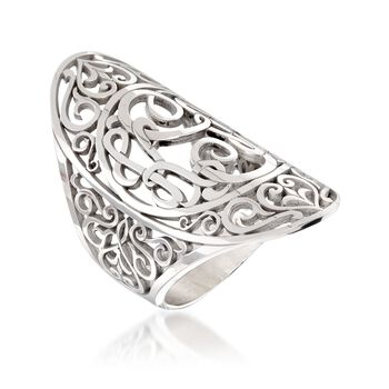 Sterling Silver Scrollwork Oval Ring