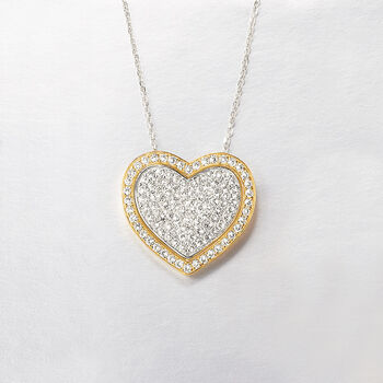 """2.10 ct. t.w. Pave Diamond Heart Pendant Necklace in 14kt Two-Tone Gold. 16"""", , default"""