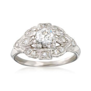 C. 1980 Vintage .75 ct. t.w. Diamond Milgrain Ring in Platinum. Size 5.75, , default