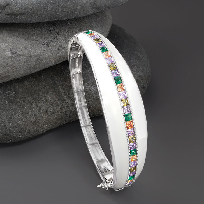 4.50 ct. t.w. Multicolored CZ and White Enamel Bangle Bracelet in Sterling Silver