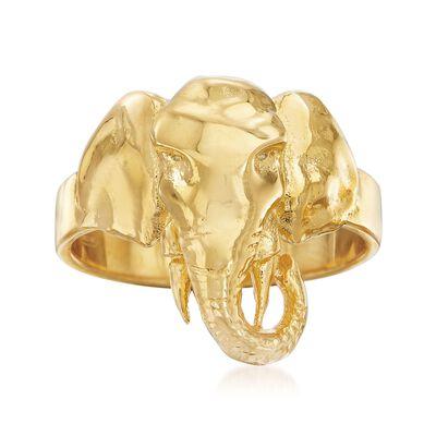 Italian 18kt Gold Over Sterling Elephant Ring, , default