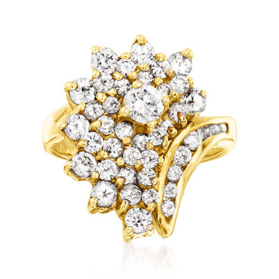 C. 1980 Vintage 1.75 ct. t.w. Diamond Cluster Ring in 14kt Yellow Gold
