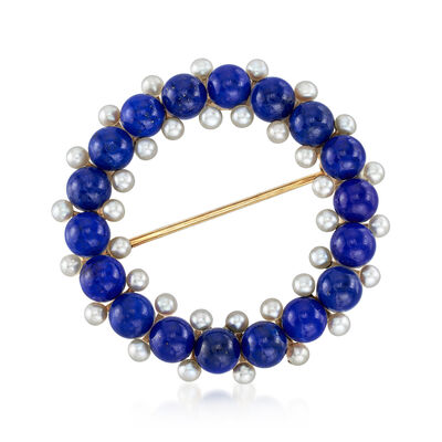 C. 1950 Vintage Lapis and 2.2mm Cultured Pearl Circle Pin in 14kt Yellow Gold