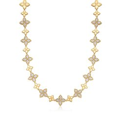 "Roberto Coin ""Princess"" 2.00 ct. t.w. Diamond Flower Station Necklace in 18kt Two-Tone Gold. 16"", , default"
