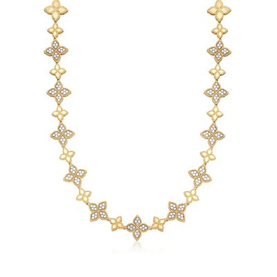 """Roberto Coin """"Princess"""" 2.00 ct. t.w. Diamond Flower Station Necklace in 18kt Two-Tone Gold  , , default"""