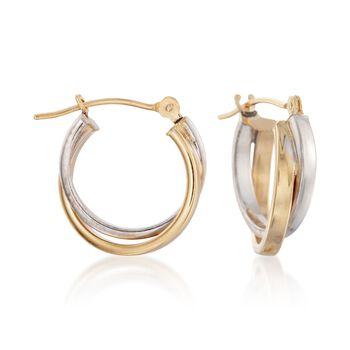 "14kt Two-Tone Gold Hoop Earrings. 1/2"", , default"