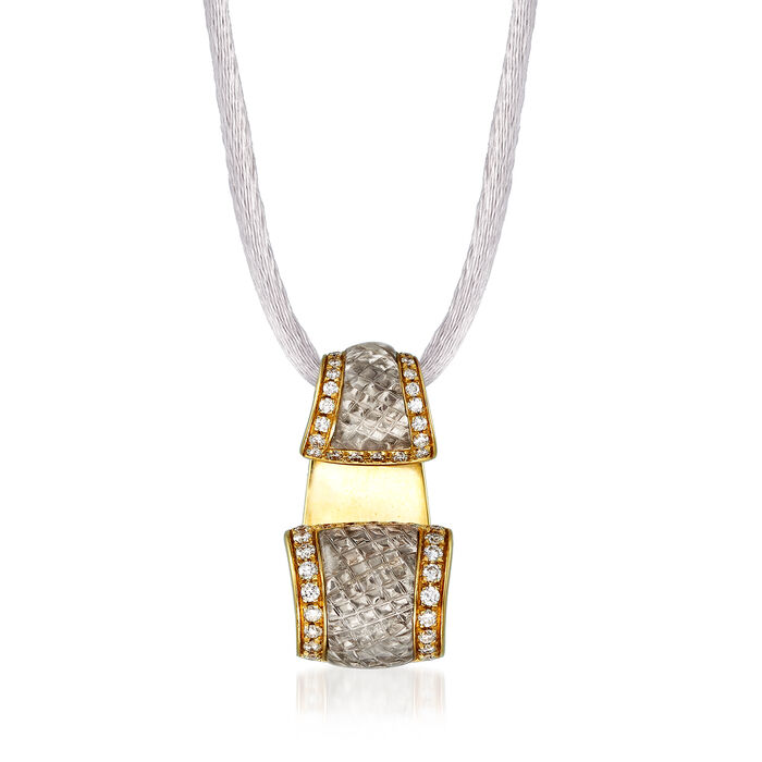 C. 1990 Vintage Quartz and .53 ct. t.w. Diamond Necklace in 18kt Yellow Gold with Silk Cord