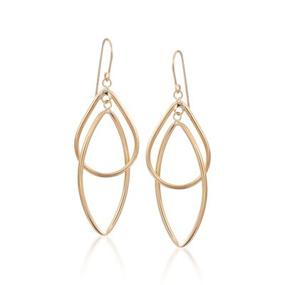 14kt Yellow Gold Open Double Drop Dangle Earrings, , default