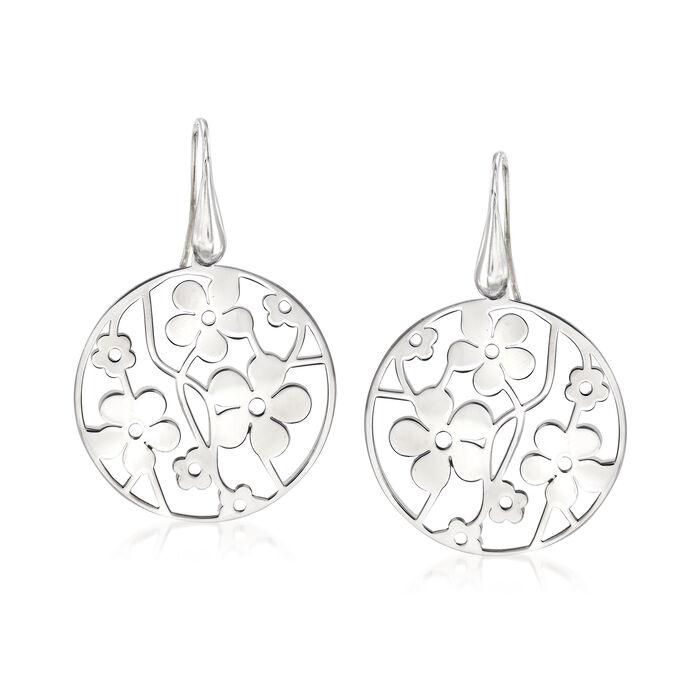 Italian Sterling Silver Floral Drop Earrings