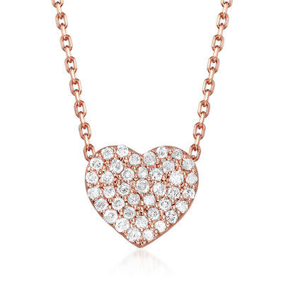 .25 ct. t.w. Diamond Heart Necklace in 14kt Rose Gold