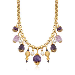 Italian Amethyst and Cultured Pearl Necklace in 18kt Gold Over Sterling, , default