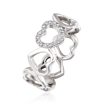 C. 1990 Vintage Tiffany Jewelry .10 ct. t.w. Diamond Heart Ring in 18kt White Gold. Size 6