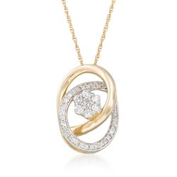 ".25 ct. t.w. Diamond Flower Pendant Necklace in 14kt Yellow Gold. 18"", , default"