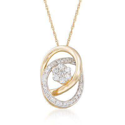 .25 ct. t.w. Diamond Flower Pendant Necklace in 14kt Yellow Gold, , default