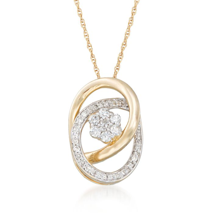 """.25 ct. t.w. Diamond Flower Pendant Necklace in 14kt Yellow Gold. 18"""", , default"""