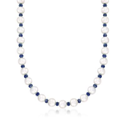 13.00 ct. t.w. Sapphire and 8-8.5mm Cultured Pearl Necklace with 14kt Yellow Gold, , default
