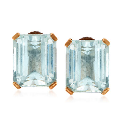 C. 1950 Vintage 9.40 ct. t.w. Aquamarine Earrings in 14kt Yellow Gold