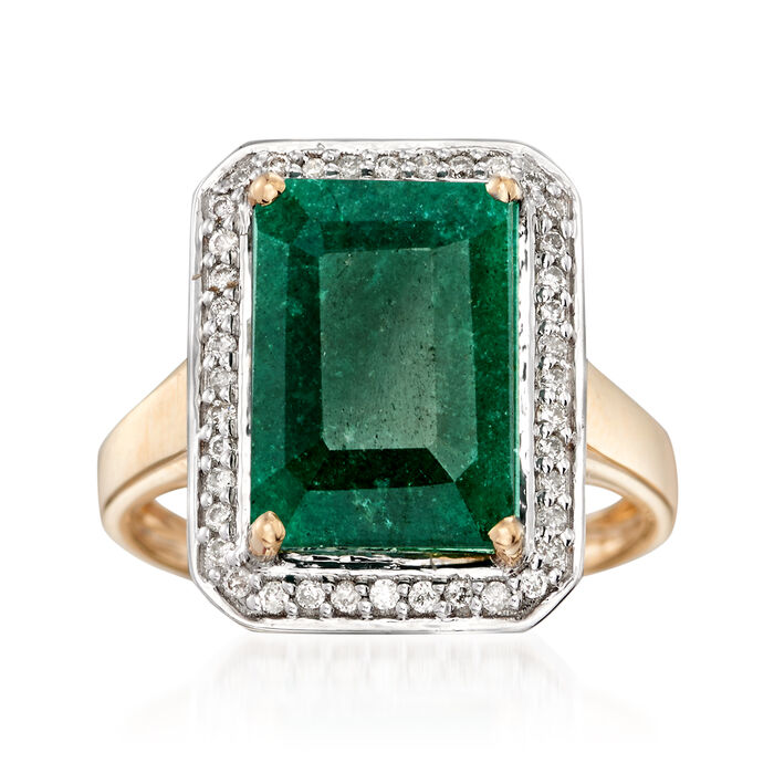 5.50 Carat Emerald and .20 ct. t.w. Diamond Ring in 14kt Yellow Gold, , default