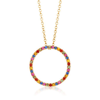 ".50 ct. t.w. Multicolored Sapphire Open Circle Pendant Necklace in 14kt Yellow Gold. 18"", , default"